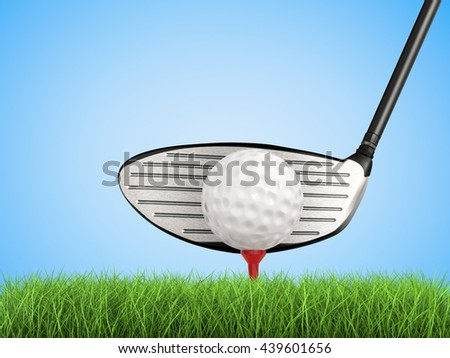 3d rendering golf club with golf ball on tee side view - stock photo