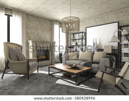 3d rendering great and beautiful classic style living room - stock photo