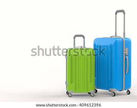 3d rendering green and blue luggages on white background