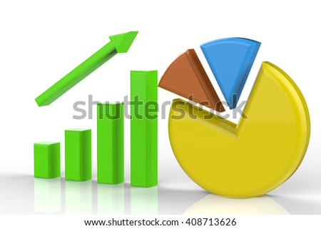 3d rendering growth graph and pie chart - stock photo
