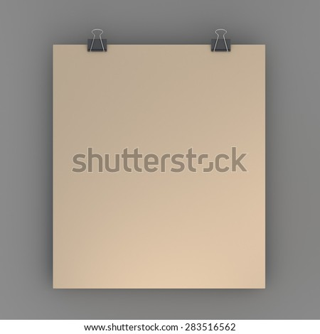 3D Rendering Hanging Blank Brown Papers Sign and Clips in Isolated Background with Work Paths, Clipping Paths Included. - stock photo