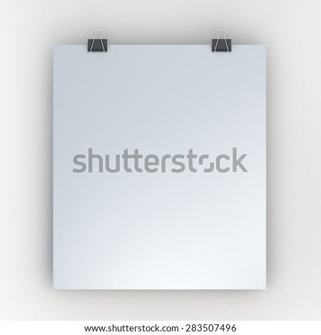 3D Rendering Hanging Blank White Papers Sign and Clips in Isolated Background with Work Paths, Clipping Paths Included.