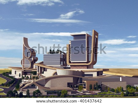 3d rendering - Hotel and administrative complex - General View 3 - stock photo