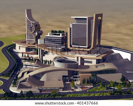 3d rendering - Hotel and administrative complex - General View 2 - stock photo