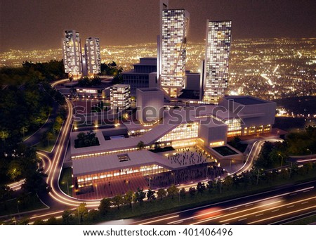 3d rendering - Hotel and administrative complex - night view - stock photo