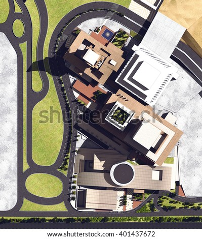 3d rendering - Hotel and administrative complex - Site plan - stock photo