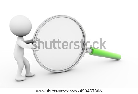 3D Rendering Human character  examines through a magnifying glass - stock photo