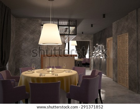 3d rendering if a restaurant interior design