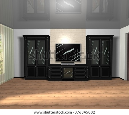 3D rendering illustration interior design living room furniture with TV in black color