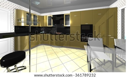 3D rendering illustration interior of big modern kitchen with Breakfast bar and dining area