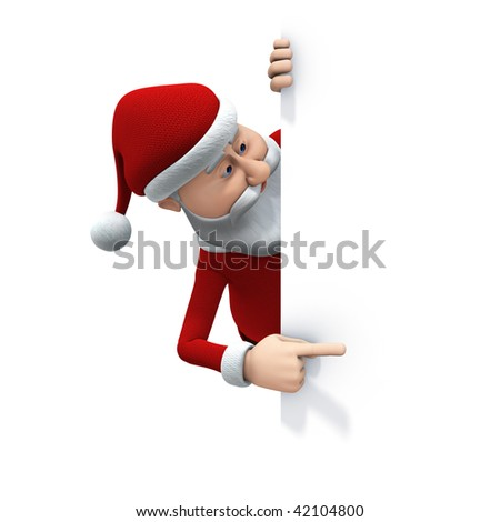 3d rendering/illustration of a cartoon santa behind a big sign looking and pointing at it - stock photo