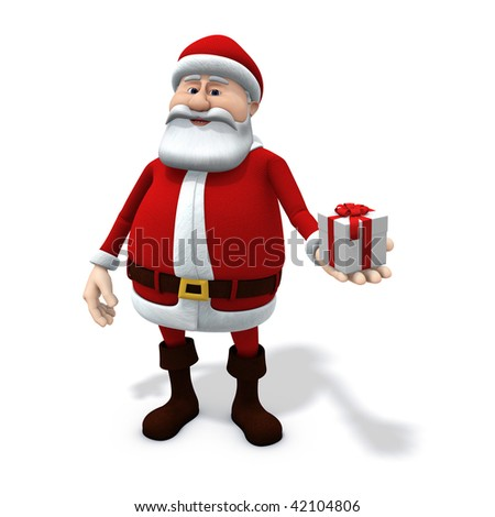 3d rendering/illustration of a cartoon santa holding a small present in his hand