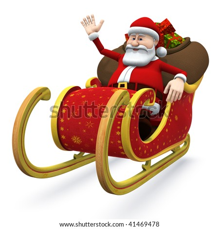 3d rendering/illustration of a cartoon santa sitting in his sleigh and waving - stock photo