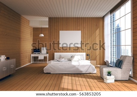 3D Rendering : Illustration Of Big Spacious Bedroom In Soft Light Color.big  Comfortable Double