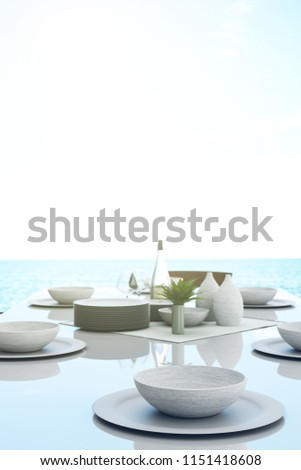 3D Rendering : Illustration Of Dining Dish Set On Table In Dining Room.  Ceramic Dish