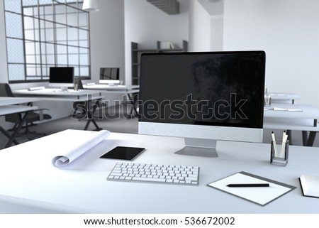 3d rendering illustration modern interior creative stock Computer office interior design