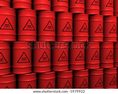 3d rendering illustration of toxic waste barrels - stock photo