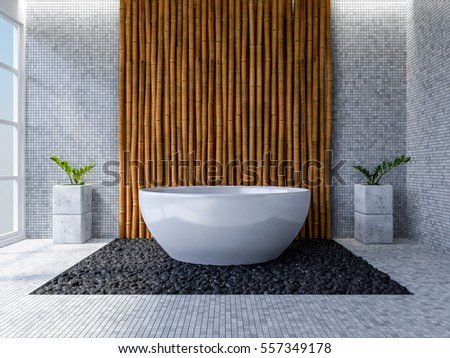3d Rendering Image Of Toilet Interior Design Minimal Concept Day Time Perspective Bamboo
