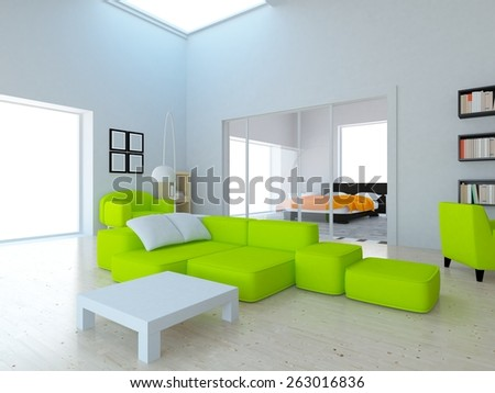 3d rendering interior of a white large flat - stock photo