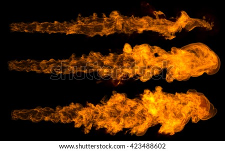 3D rendering jet fire flames set isolated on black background. Stream fire.