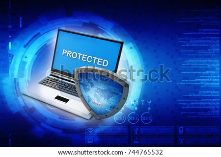 3d rendering laptop with shield