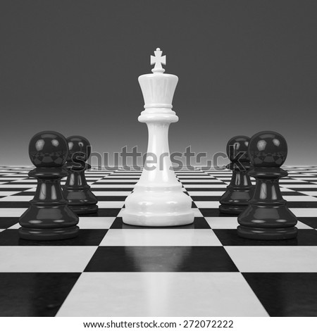 3d rendering Last chessman - stock photo