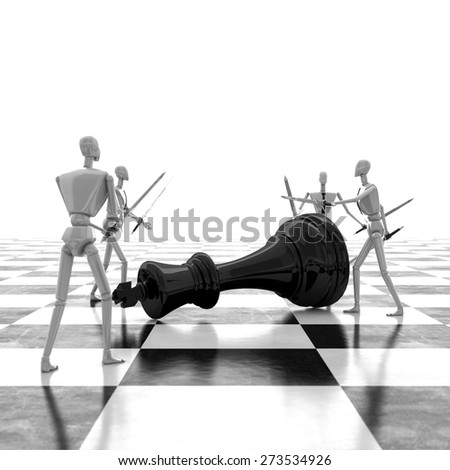 3d rendering Last chessman defeated