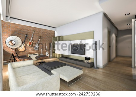 3D rendering living room with brick wall  - stock photo