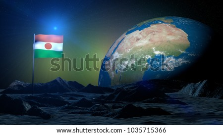 3D rendering lunar terrain on Earth planet with Niger flag