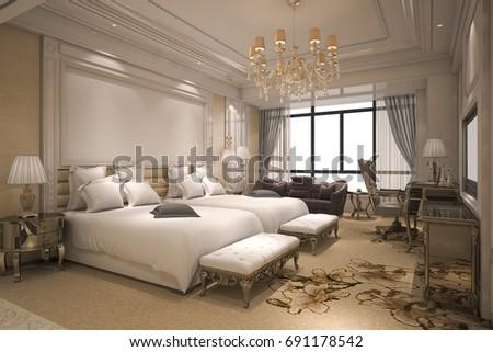 3d rendering luxury modern bedroom suite in hotel with golden decor - Luxury Modern Bedroom