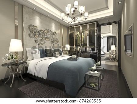 3d rendering luxury modern bedroom suite in hotel with wardrobe and walk in closet - Luxury Modern Bedrooms
