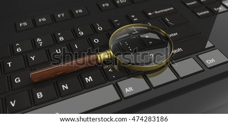 3d rendering magnifier glass on a black keyboard
