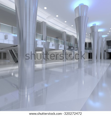 3d rendering.Mall interior. Empty hall interior with ceramic floor to ceiling windows and scenic background