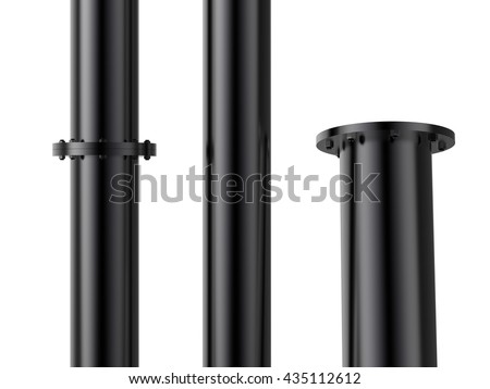 3d rendering metal pipe with flange joint - stock photo