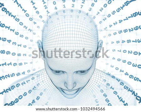 3D Rendering - Mind Field series. Backdrop design of head of wire mesh human model and fractal patters for illustrations on artificial intelligence, science and technology