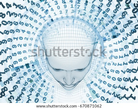 3D Rendering - Mind Field series. Backdrop of  head of wire mesh human model and fractal patters to complement your design on the subject of artificial intelligence, science and technology