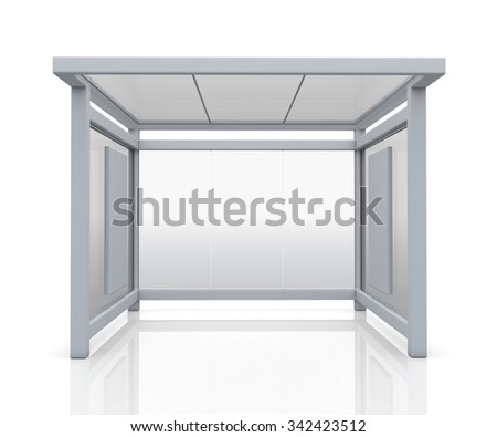 3D Rendering Mock Up Bus Stop and billboards advertisement with Work Paths, Clipping Paths Included. - stock photo