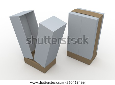 3D Rendering Mock Up Clean White Box and Original Brown Ribbon New Design for Vertical Product in Isolated Background with Work Paths, Clipping Paths Included. - stock photo