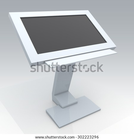 3D Rendering Mock Up Interactive digital Information Kiosk in Isolated Background with Work Paths, Clipping Paths Included. - stock photo
