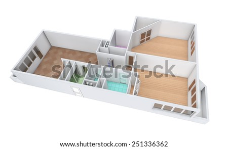 3D rendering. Model of the three-room apartment,  tile and parquet. The empty apartment without furniture, bathroom equipment and finishing. - stock photo