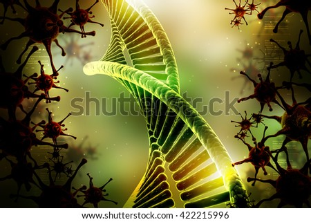 3d rendering model of twisted chrome DNA chain with virus - stock photo