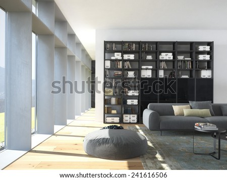 3d rendering.modern couch and wood bookcase in a living room  - stock photo