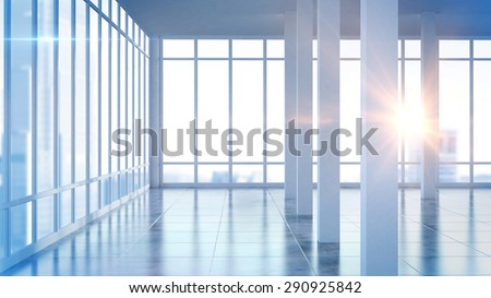 3D rendering modern empty interior office room with large windows
