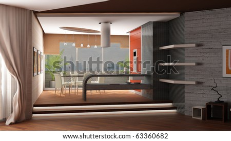 3d rendering. Modern interior of kitchen and table room with a greater panoramic window with a kind on a city landscape