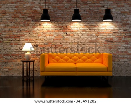 3D rendering modern interior with lamps fnd sofa - stock photo
