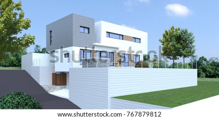 [3D Rendering] Modern Luxury Housing Design. Created With Sketchup And  Rendered With V