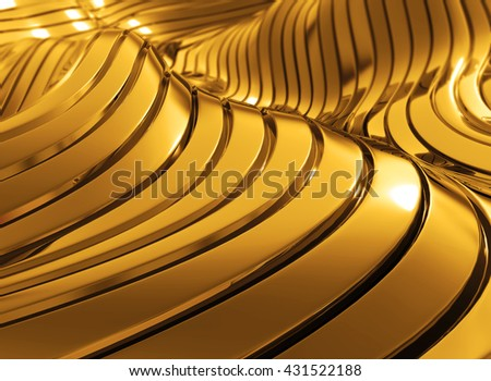 3D rendering modern luxury shiny golden wavy abstract background.