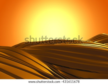3d rendering modern luxury shiny wavy golden on golden gradient background with copy space and work paths for a die cut content background.