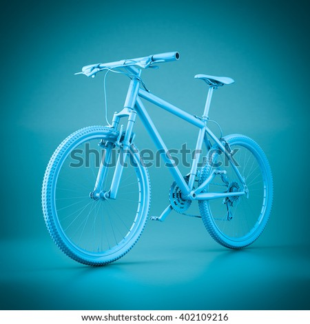 3D rendering mountain bike on a blue background - stock photo