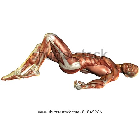 3D Rendering Muscle man lying - stock photo